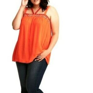 Torrid orange embroidered strappy tank
